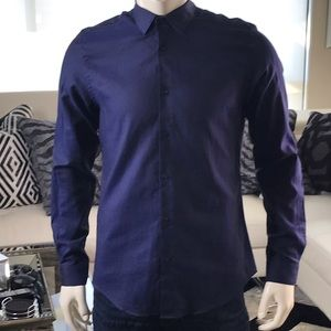 Zara Man - Dark blue gloss sheen shirt - slim fit